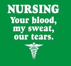 nursing is blood sweat tears